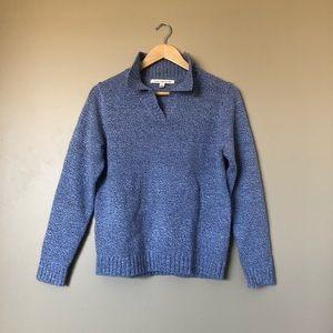 {Debbie Morgan} Lilac Blue Cozy High Neck Sweater